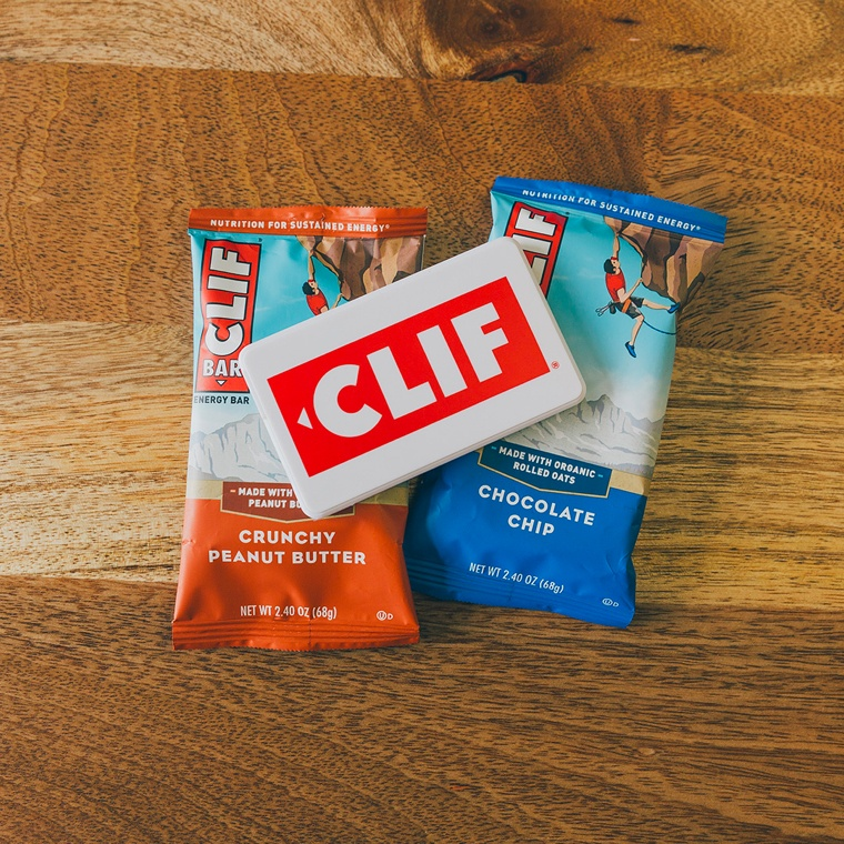 a Clif Bar branded charger with two Clif Bars