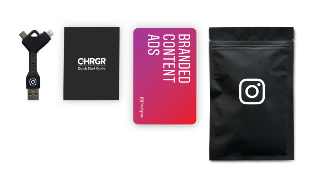 a branded swag battery charging pack with Instagram branding
